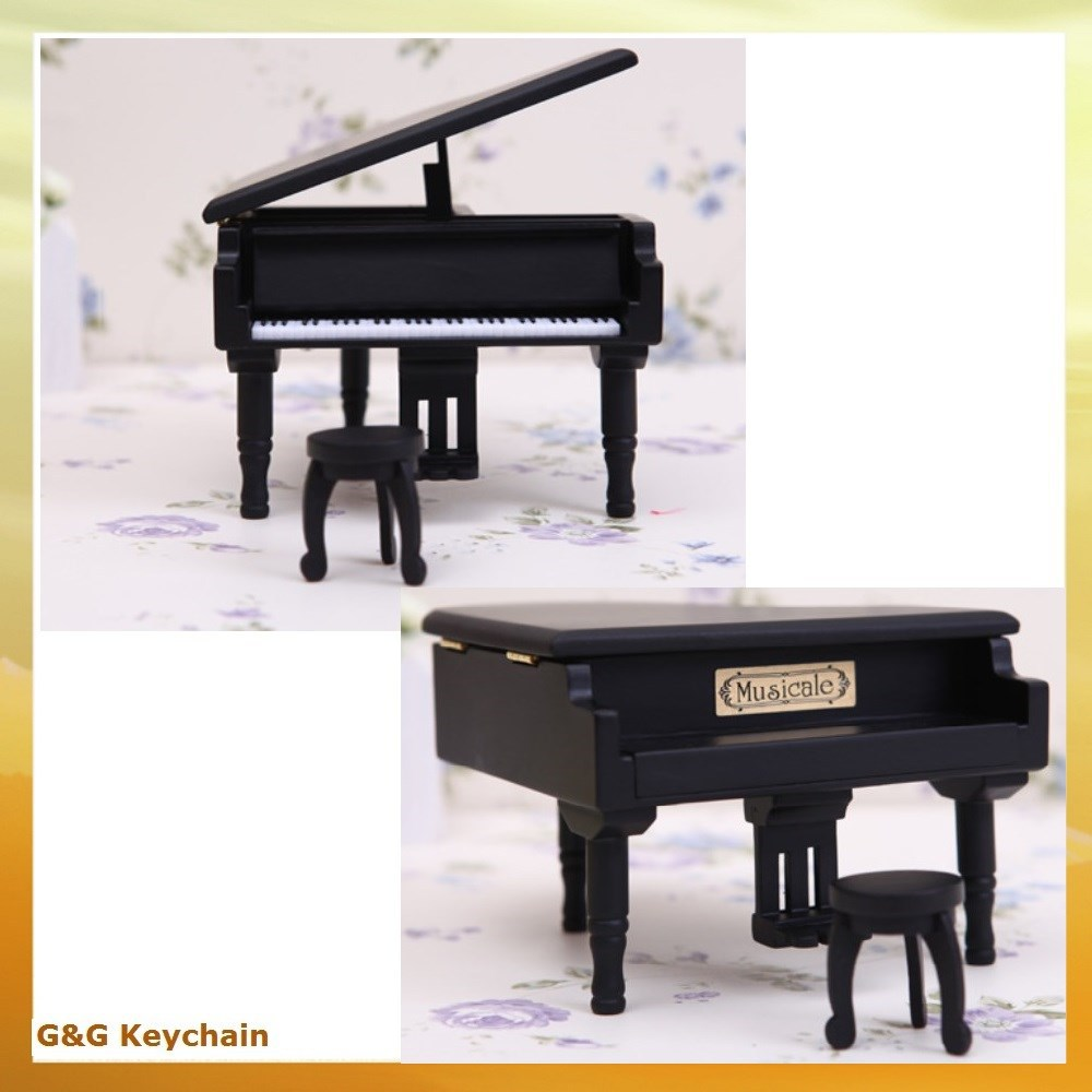 Metal Hand Cranked Wooden Mini Piano Shaped Music Box MB 009-B
