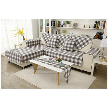 Washing Cotton Check Stripe Quilted Sofa Cover And Cushion