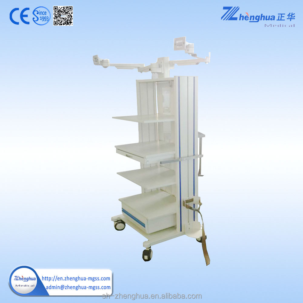 stainless steel surgical endoscopy cart with silent castor wheels