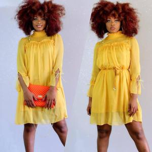 P0784 plus size XXL size hot summer sexy women plain yellow chiffon high neck long loose short casual dresses