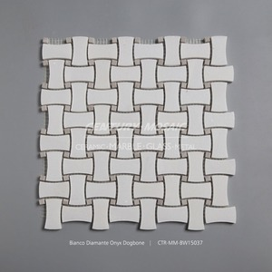 dogbone white marble mosaic tile for kitchen remodeling backsplash