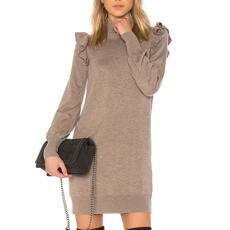 YL High quality cheap autumn new Fashion Women Grey Mini jumper Dress Young Girls Ladies long sleeve sweater Dress For Wholesale