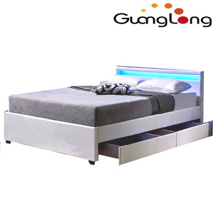 LED leather bed with drawers
