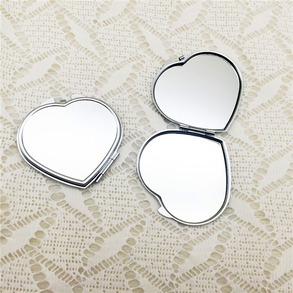 heart shape blank compact double side pocket mirror custom design shaped blank simple promotional makeup mirror
