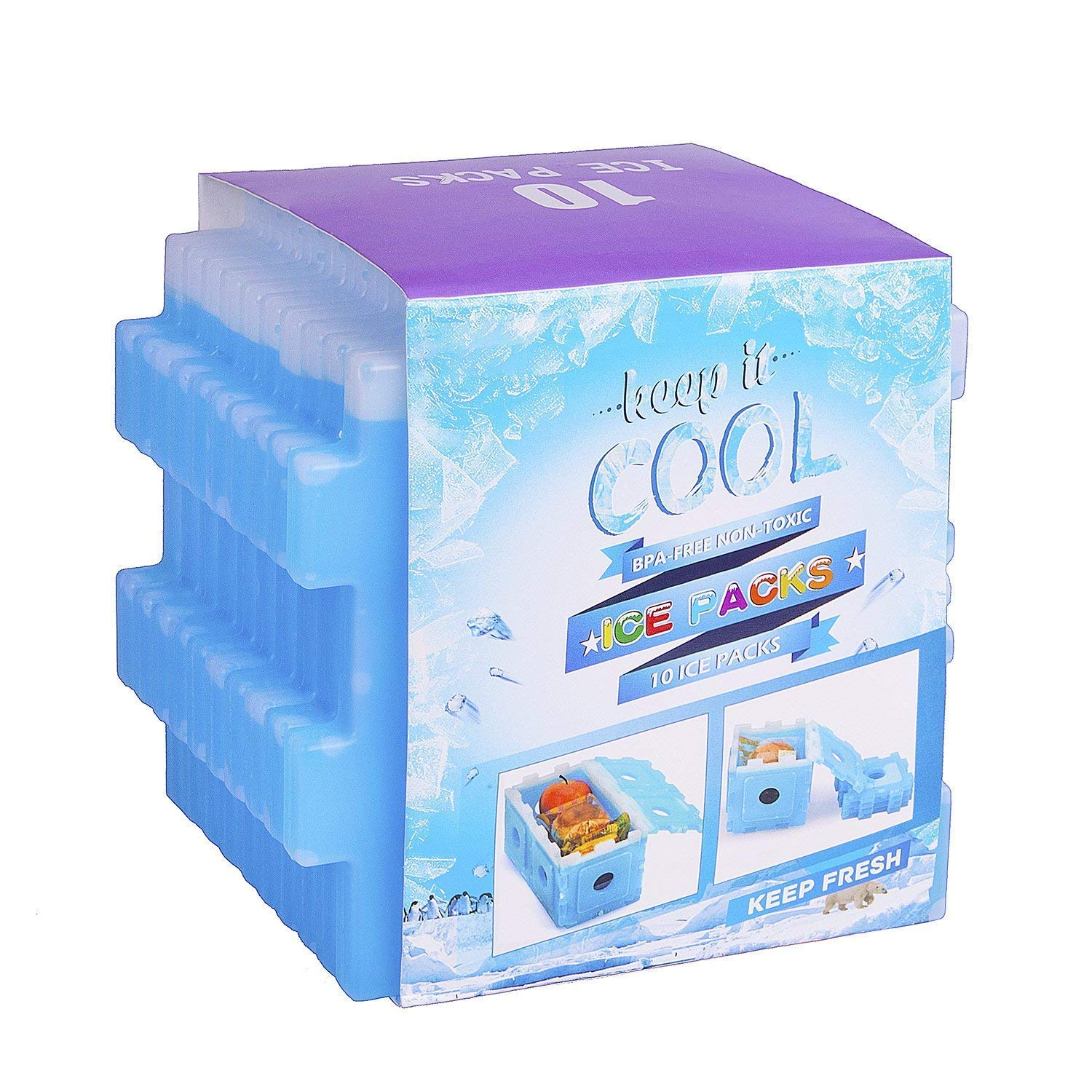 Ice Packs,Beyetori Cool Pack for Lunch Box,Freezer Packs for Lunch Bags and Coolers,Ice Pack Slim Reusable,Long-Lasting Freezer Ice Packs,Ice Packs-Great for Coolers,Ice Cube Blue (Blue, 10)