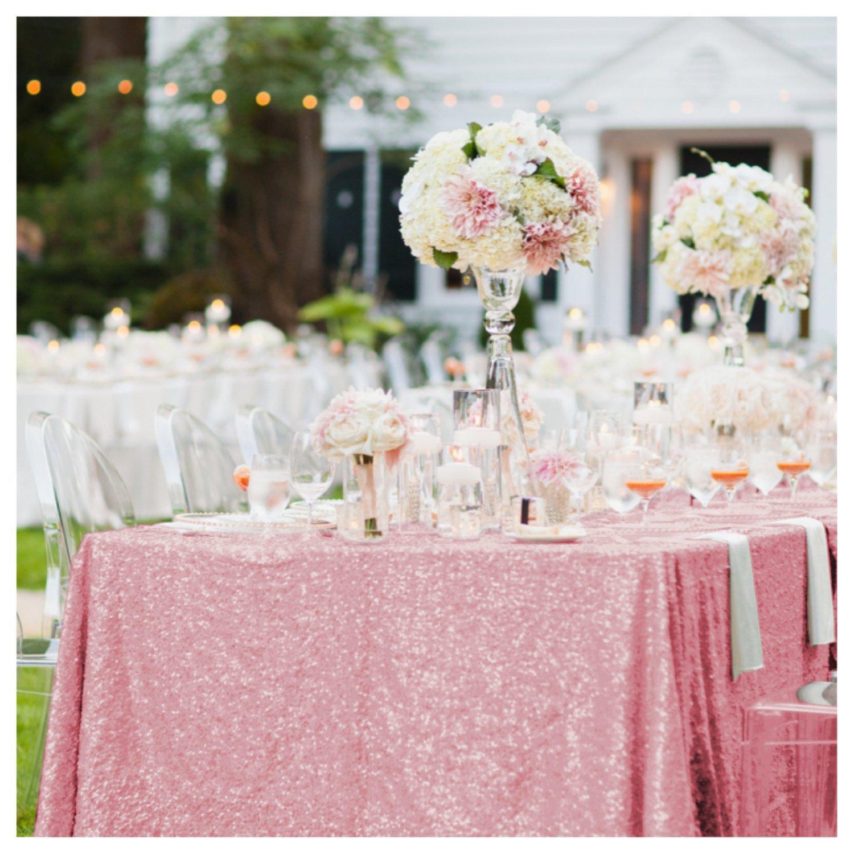 "ShinyBeauty Rectangle-Sequin-Tablecloth-60x102-Inch-Fuchsia Pink 5FT Table Linen Overlay (60""x102"", Fuchsia Pink)"