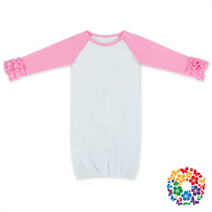 Newest Style Pink Ruffle Baby Gown Long Sleeve Cotton Kids Gowns And Dresses Kids Evening Gowns