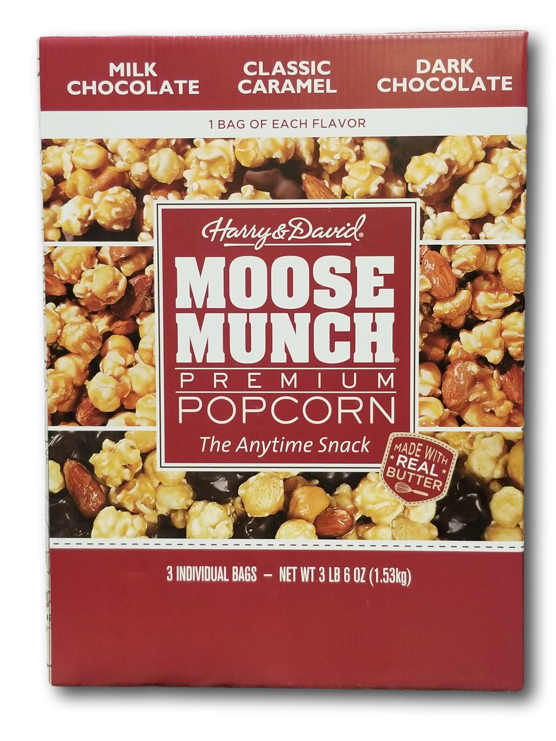 Moose Munch Premium Popcorn 3 Individual Flavor Bags- Milk Chocolate, Classic Caramel, Dark Chocolate
