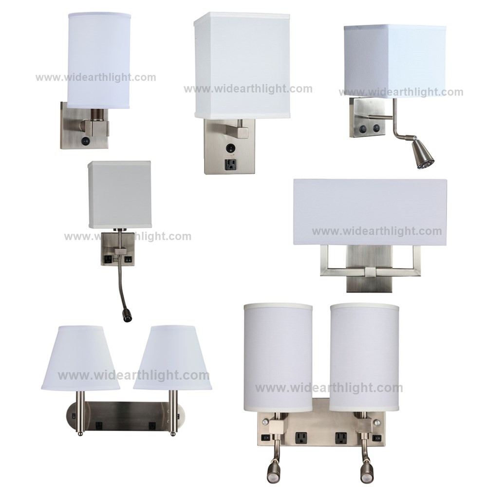 UL Approved Factory Custom Bedside Hotel Wall Lamp With Outlet And USB Port For Guestroom WF170228