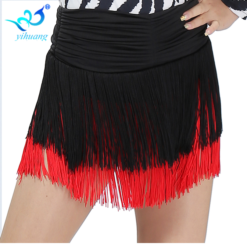 Customized Acceptable Women Tassel Latin Dance Skirt Sexy Mini Belly Skirts Salsa Costumes
