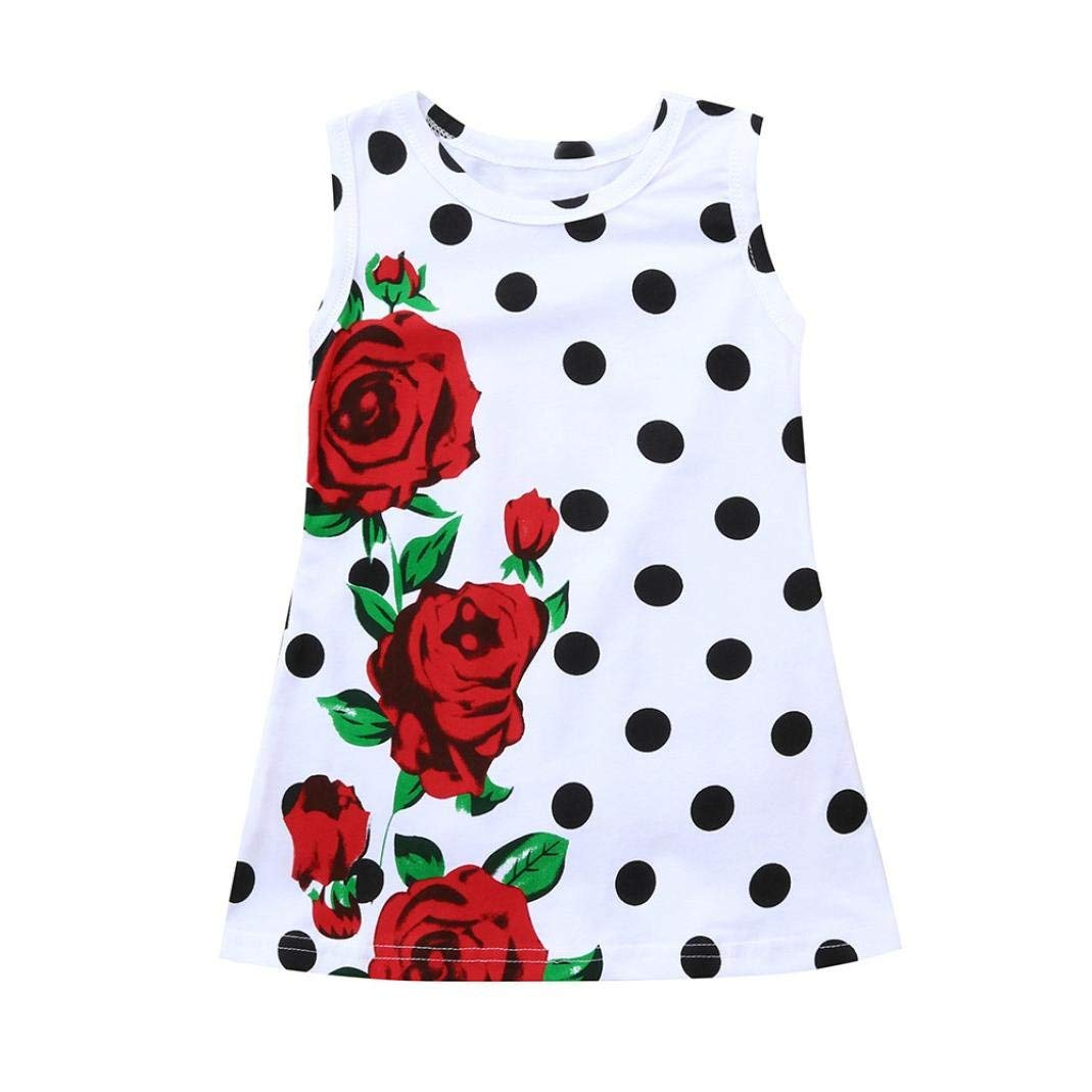 YOYORI Infant Toddler Baby Kids Girls Dress Rose Dot Print Sundress Outfits Clothes