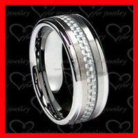 carbon fibre center inlay fashion stainless steel jewelry ring