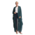 Embroidery New Designs Fashionable Islamic Clothing Dark Green Pleated Leopard Print Long Cardigan Open