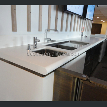 Modern Restaurant Kitchen Cabinet Countertops/Joint Seamless Solid Surface  Material