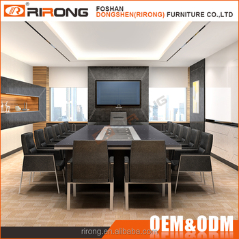 luxury conference room furniture leather covered wooden 6 meters conference table