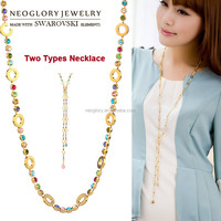 Best Wholesale Two Types 14k Real Gold Long Chain Necklace Jewelry