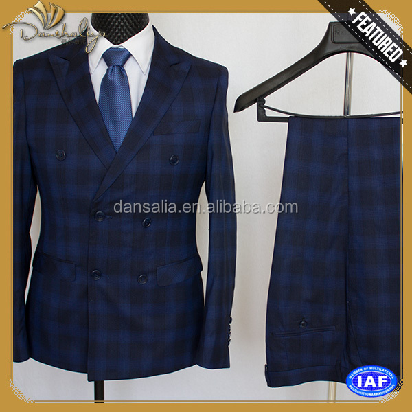 Customized double breasted navy formal business dress office uniform man