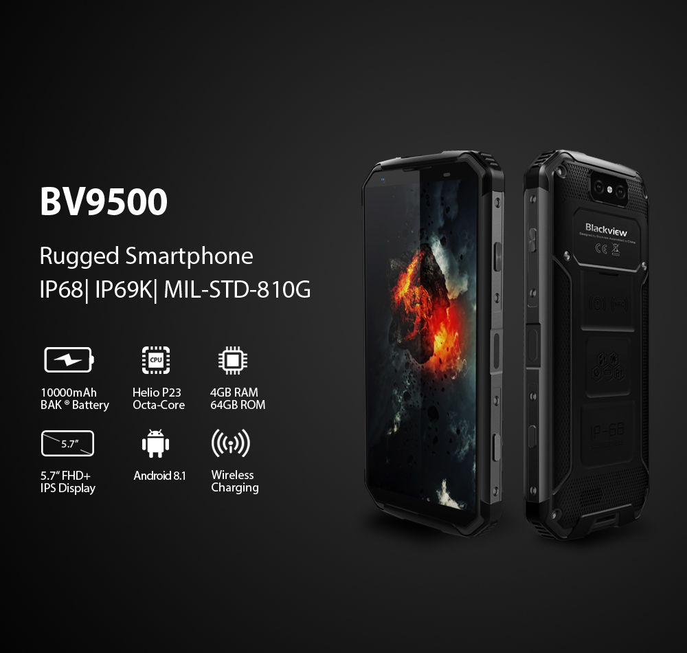 "Blackview BV9500 NFCWireless Charger Fingerprint Smartphone 5.7"" FHD IPSMT6763TOcta core4GB RAM 64GB ROM 4G mobile Phone"