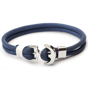 Newest Small MOQ Jewelry Fashion Bracelet Mens Navy Nautical Rope Anchor Bracelet
