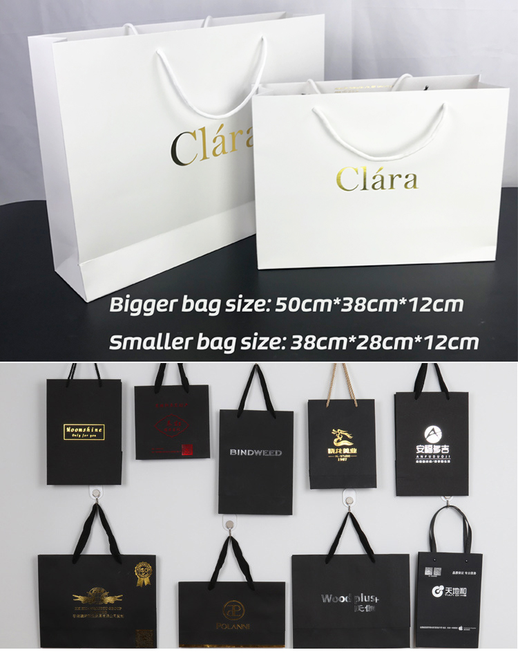 Custom logo fancy design plain black kraft paper bag with ribbon handle