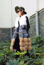 Finnish imports of white fox scouring the red fox fur hair hit the color plus a long section of Haining fur vest