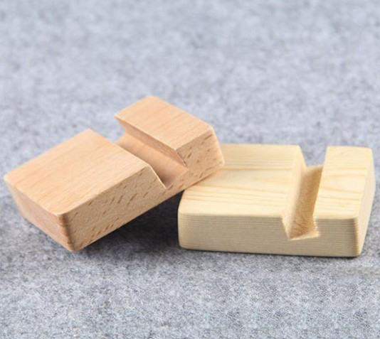 Universal Genuine Beech Wood Phone Holder  Bracket Mini Portable Pocket Stand