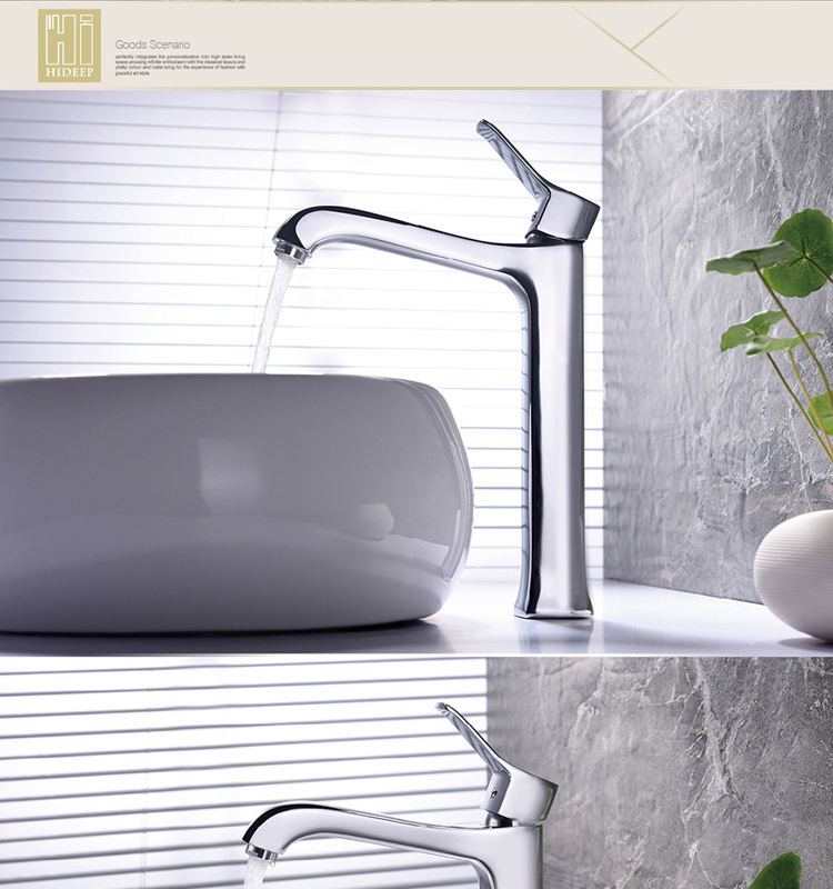 HIDEEP hot and cold water body brass chrome basin mixer