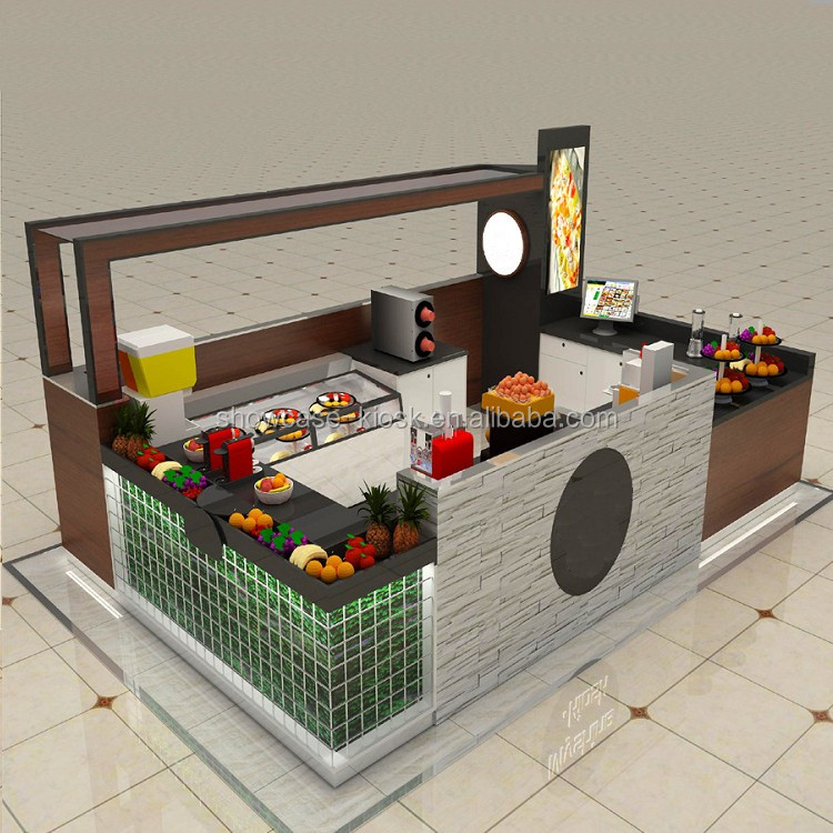 solid wood mall kiosk design build for crepe food kiosk