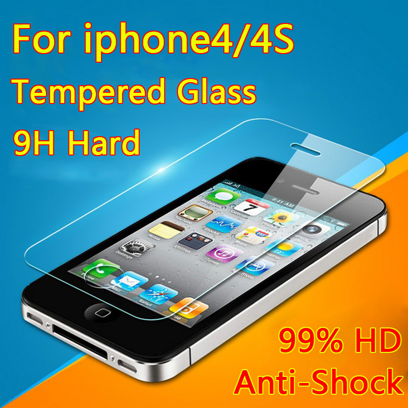 Film on for Apple iPhone4 4S Premium Tempered Glass Screen Protector For iPhone 4S HD Protective