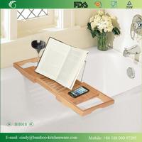 BH018 Deluxe Bamboo Bath Caddy for Bathroom