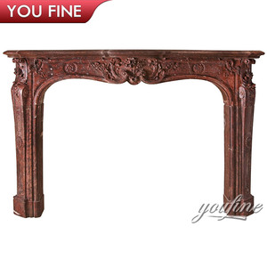 Luxury Electric Fireplace Mantel/Pink Marble Fireplace