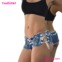 Wholesale lace up side frayed cheap womens jean shorts