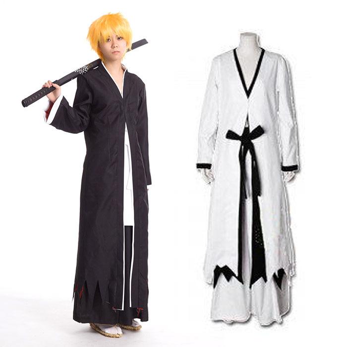 Bleach Anime Black/&White Cos Shinigami Kimono Cosplay Costume Free Shipping