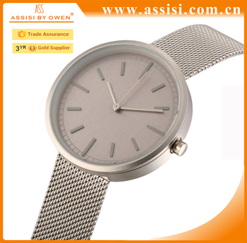 2017 hot sell alloy case no logo mesh band simple design low moq fashion watch