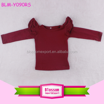 06f8dc976460f Solid Maroon 3 Layers Triple Ruffle Kids Flutter Sleeve Shirts Fall Long Sleeve  Flutter Ruffle Toddler