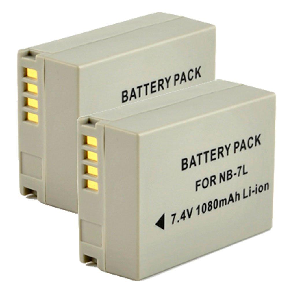 2x Masione 7.4V 1080mAh NB-7L Li-ion Battery for Canon PowerShot G10 G11 G12 SX30 IS