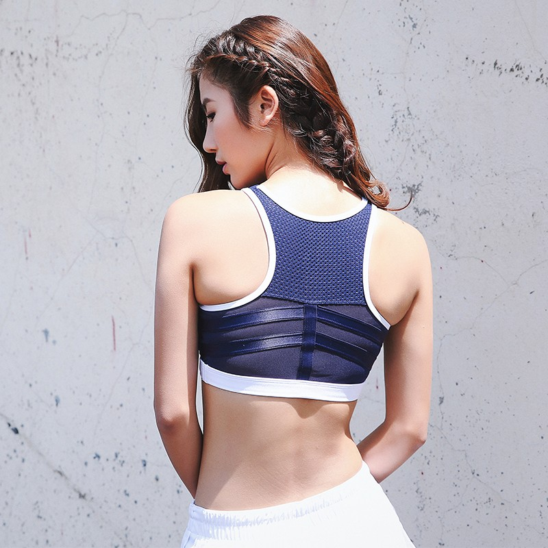 Women Padded Strappy Breathable Racerback Compression Dri-Fit Sports Bra