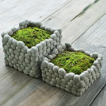 Design Exclusif En Forme De Pierre De Ciment Decoratif Jardiniere D Interieur Carre Buy Carre Decoratif D Interieur De Planteur Planteur D Interieur