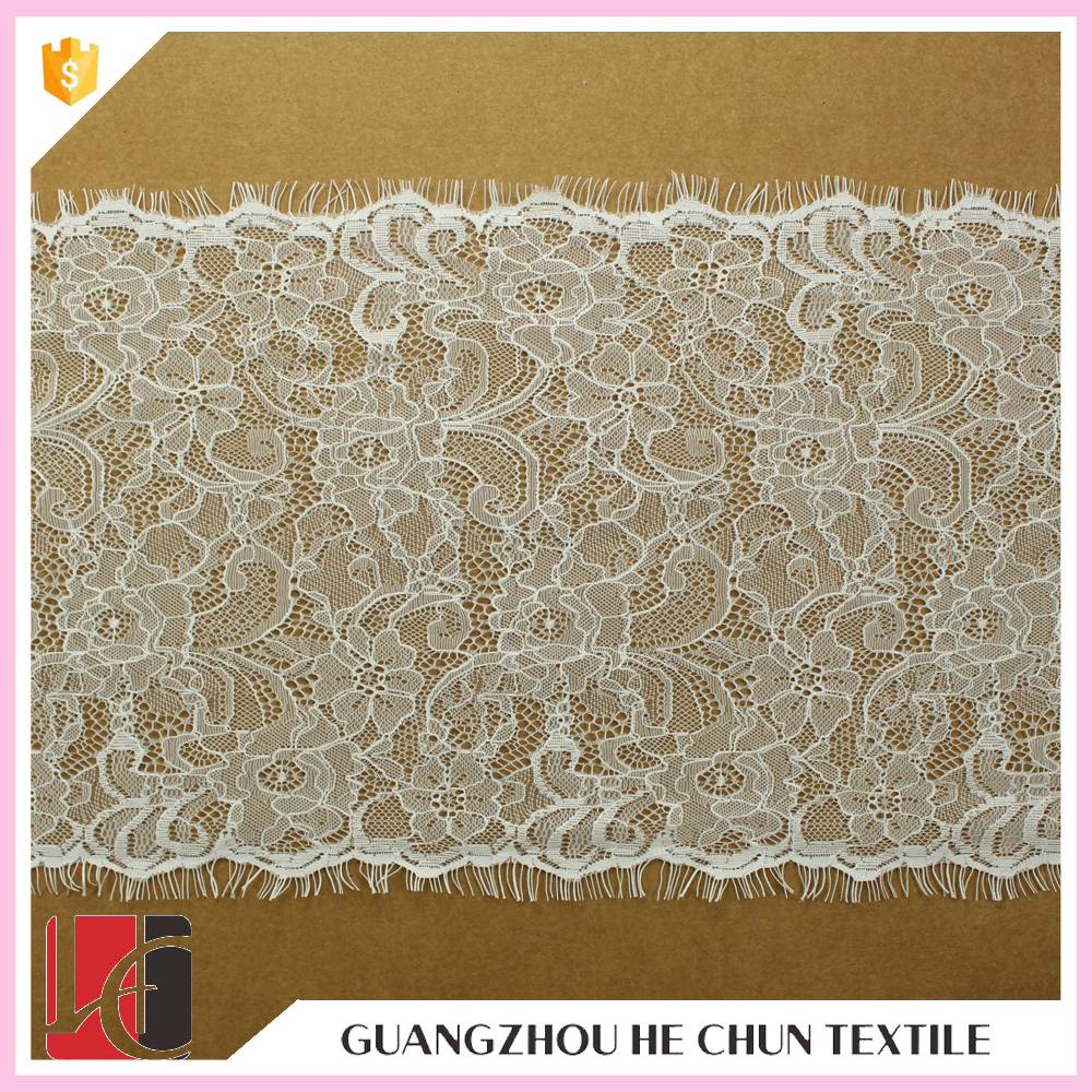 Hot sale fancy eyelash lace white for bridal