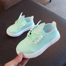 Детская обувь; детская повседневная модная обувь для девочек; мягкие Нескользящие кроссовки для девочек; тонкие туфли с милым кроликом и же...(Китай)