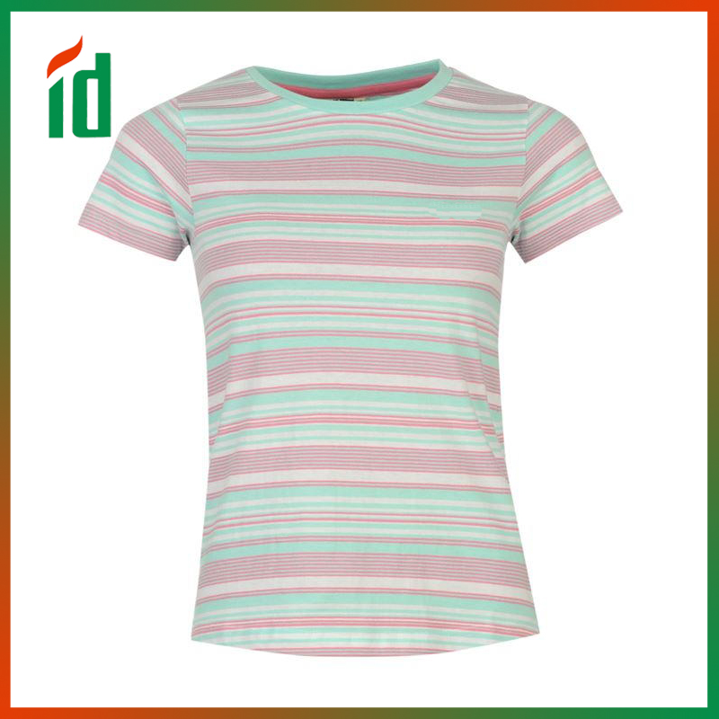 Sweat wicking yarn dye all over stripe pattern tee top for female soft handle flat raglanseams women t shirts