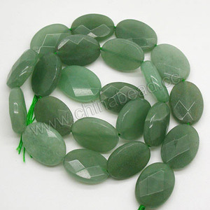 Natural faceted flat oval green aventurine stone beads
