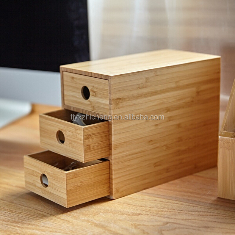 Wholesale Bamboo Desktop Organizer 3-tier Mini Desk Organizer makeup With Drawers