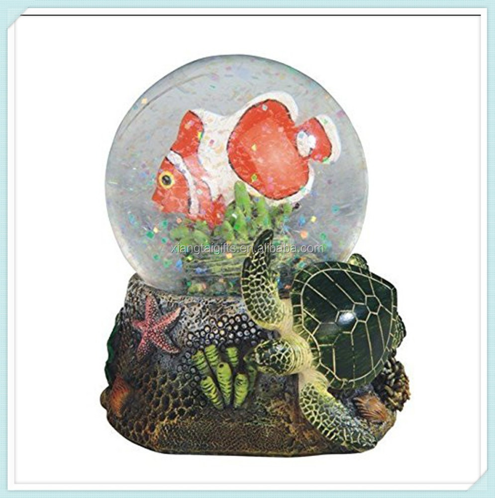 Clownfish with Green Turtle Marine Life Snow Globe