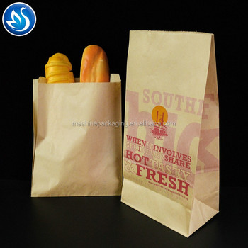 food delivery bread bags paper brown kraft paper bags with window bakery packaging