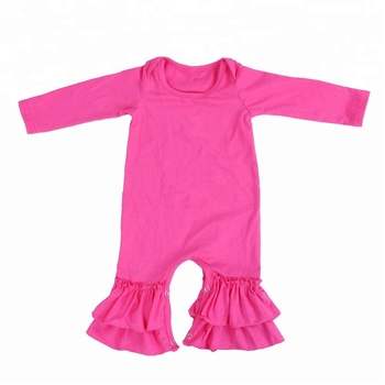 2787ab1a9e90 Boutique Baby Long Sleeves Jumpsuit Baby Girl Ruffle Clothes Wholesale  Children Plain Wear Newborn Fall Romper