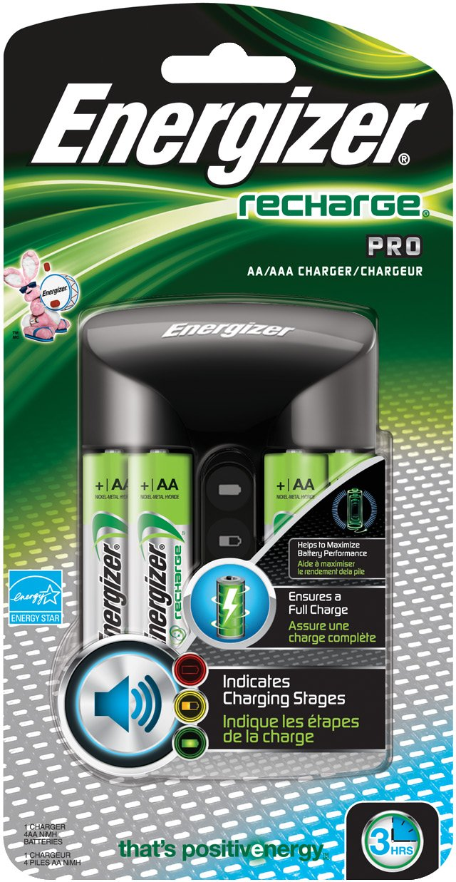 Energizer Rechargeable AA and AAA Battery Charger (Recharge Pro) with 4 AA NiMH Rechargeable Batteries