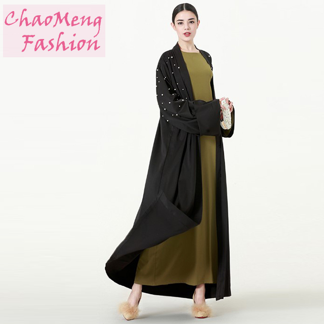 1538# Hot sale 2018 black simple front open abaya kaftan for Muslim women latest design in dubai size islamic clothing