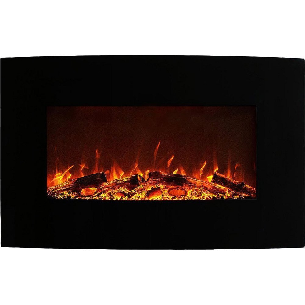 Regal Flame Madison 35 Inch Ventless Heater Electric Wall Mounted Fireplace - Log