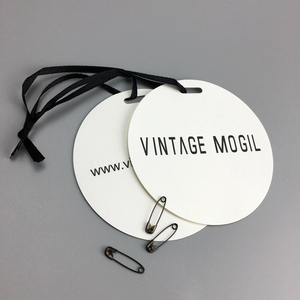 Matte white stock paper hang tag custom embossed paper tag with plastic string